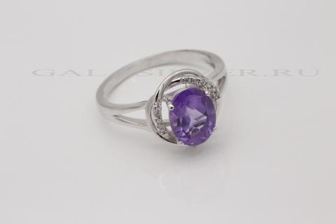Кольцо с аметистом и цирконом из серебра 925