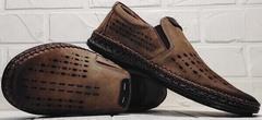 Кожаные туфли мужские мокасины с перфорацией smart casual стиль летние Luciano Bellini 91737-S-307 Coffee.