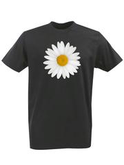 Футболка с принтом Цветы (Ромашки) черная 001