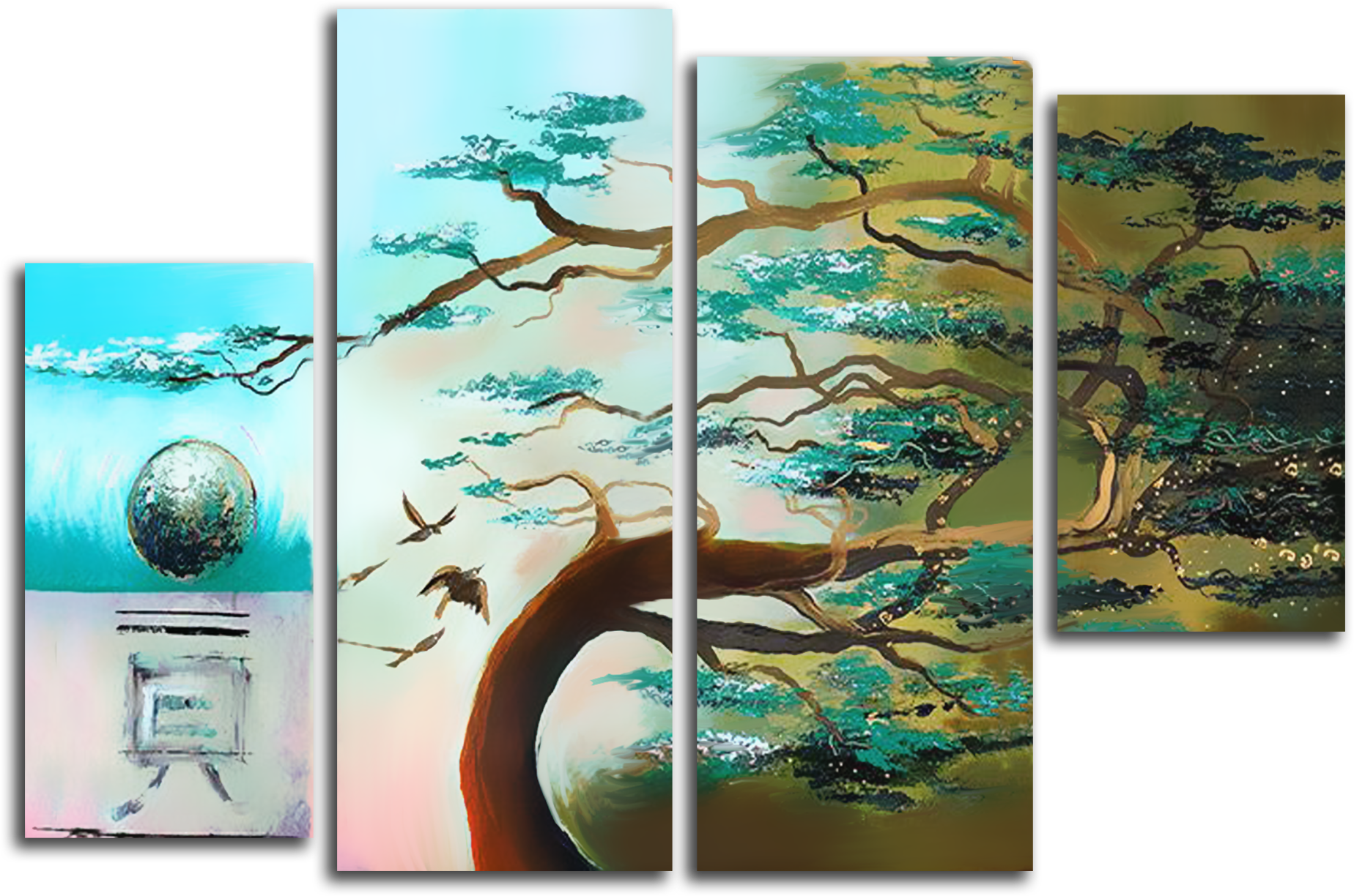 """Абстракция Модульная картина """"Одинокое дерево"""" М437.png"""
