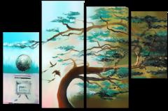 """Модульная картина """"Одинокое дерево"""""""
