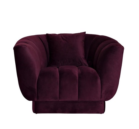 Кресло велюровое темно-фиолетовое с подушкой (ZW-81101 DVI) Garda Decor