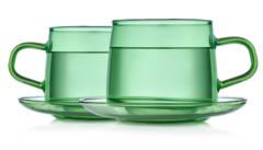 Стеклянные кружки зеленого цвета с блюдцами 2 штуки, 350 мл