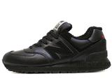 Кроссовки Мужские New Balance 574 All Black Leather (С Мехом)