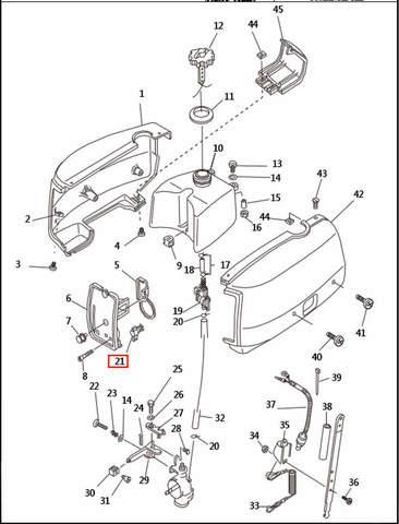 Ручка подсоса  для лодочного мотора T2,5 SEA-PRO (1-21)