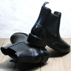 Резиновые сапоги ботинки женские W9072Black.