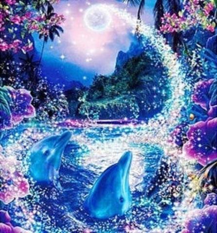 Алмазная Мозаика 40x50 Дельфины и луна (арт. TCH8058 )