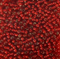 97070 Бисер 8/0 Preciosa прозрачный красный с серебряным центром