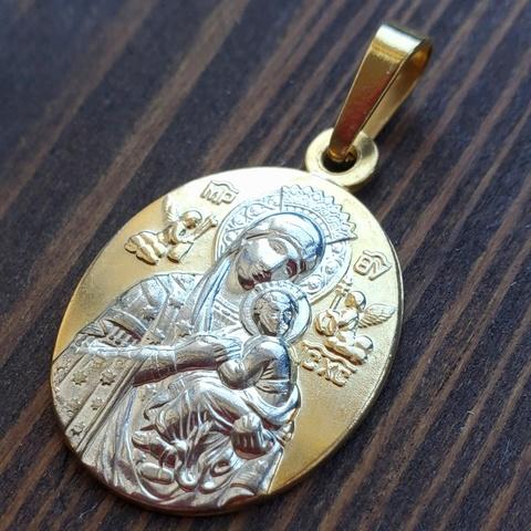 Нательная икона Божия Матерь Страстная с позолотой