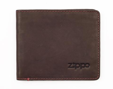 Портмоне Zippo, коричневое, натуральная кожа, 11×1,2×10 см
