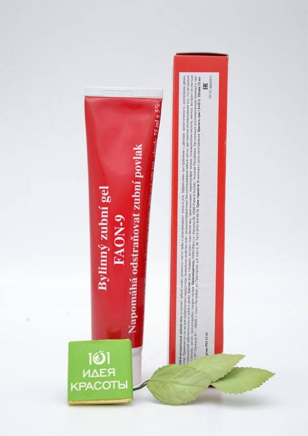 Faon-9 Натуральный лечебный гель для эффективного и деликатного очищения зубов и десен, 75мл