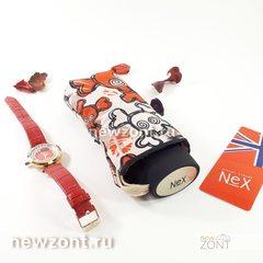 Плоский карманный мини зонтик 5 сложений NEX с черепами