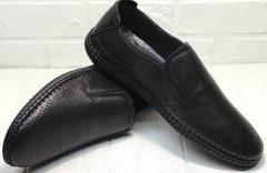 Черные мокасины туфли летние мужские casual style мужской Ridge Z-291-80 All Black.