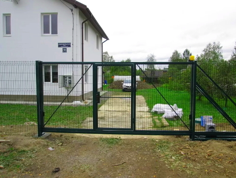 Откатные ворота 3д со встроенной калиткой с электроприводом