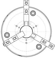 Клино-реечный токарный патрон ROTA-S 2.0 с коротким конусом и базовыми кулачками и твёрдыми верхними частями DIN 55027