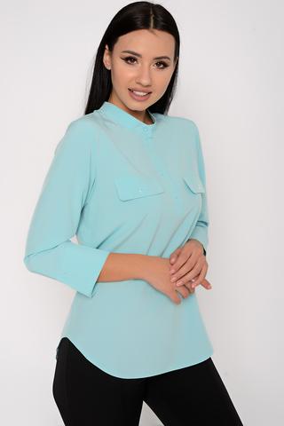 <p>Модная рубашка для успешной леди. По переду планка на пуговицах. По полочке модные клапаны. Силуэт свободный. Рукав 3/4 на манжете. (Длины: 44-46=68см; 48-50=70см. Спинка длинее переда на 5см)</p>