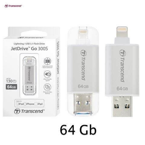 Флешка Transcend  64GB JetDrive Go 300 Flash Drive iBridge серебряный