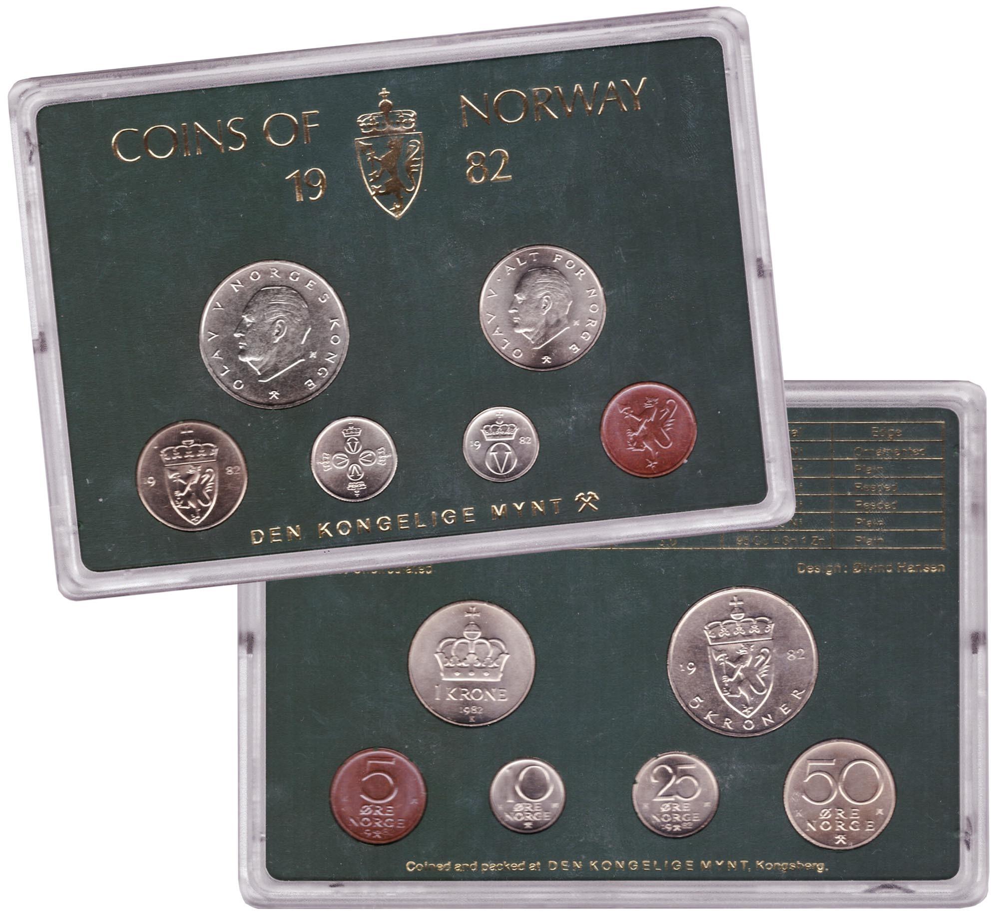 Набор монет Норвегии 1982 UNC в пластиковой упаковке