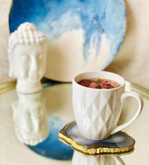 Подставка под бокал/чашку/свечу из бразильского агата, размер 10-12 см