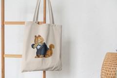 Сумка-шоппер с принтом Кот, Кошка, Котенок, Гарлфилд (кошки) бежевая 001