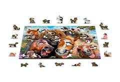 Веселые лошадки от Wooden City - Деревянный пазл, позитивный и яркий с деталями разных формы. Веселая картинка с лошадками, детский пазл
