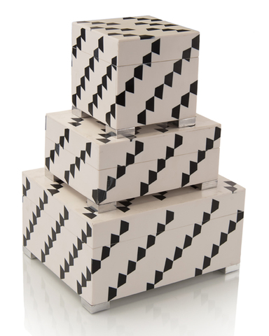 Set of Three Black-and-White Boxes