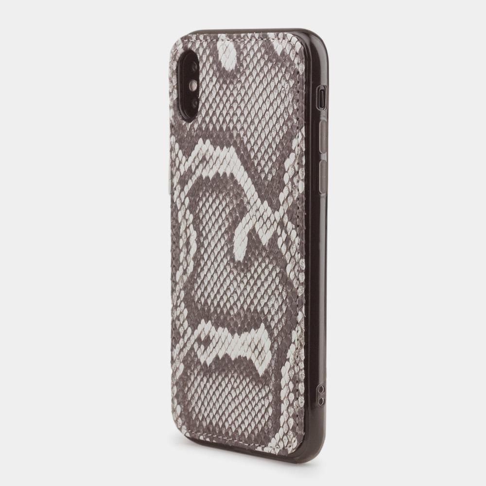 Чехол-накладка для iPhone X/XS из натуральной кожи питона, цвета Natur