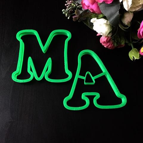Вырубка для пряников буквы МА 10см