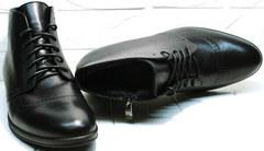 Зимние классические мужские ботинки на шнуровке Ikoc 3640-1 Black Leather.