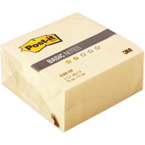 Стикеры Post-it Basic 76х76 мм пастельные желтые (1 блок, 400 листов)