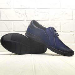 Красивые туфли мокасины кожаные кэжуал стиль Luciano Bellini 91268-S-321 Black Blue.