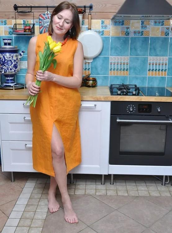 Льняное платье Шафран