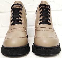 Осенние женские ботинки на шнурках Yudi B-20 082 Beige.