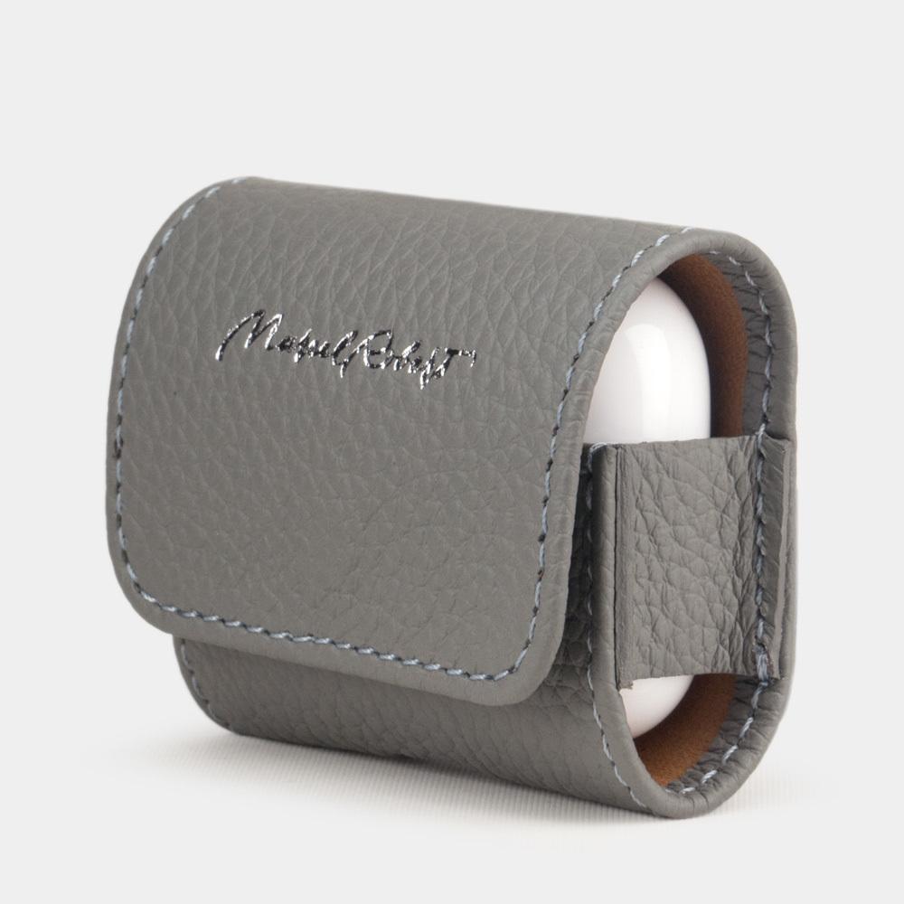 Чехол-держатель для наушников Grand Easy из натуральной кожи теленка, стальной  цвета