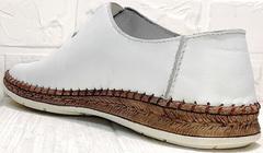 Летние мокасины эспадрильи мужские кожаные casual Luciano Bellini 91724-S-304 All White.
