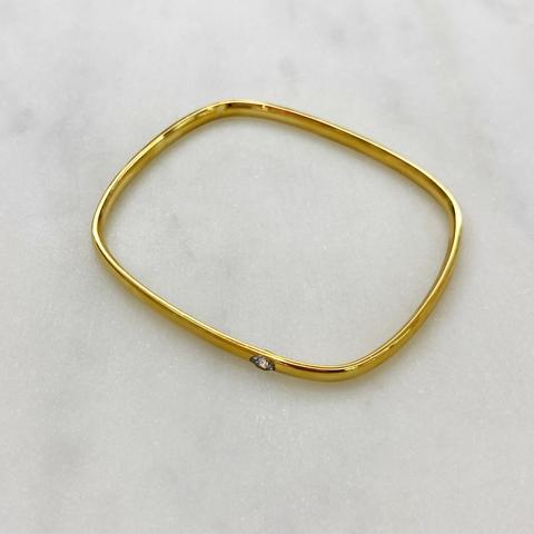 Браслет-обруч квадратный с цирконом (золотистый)