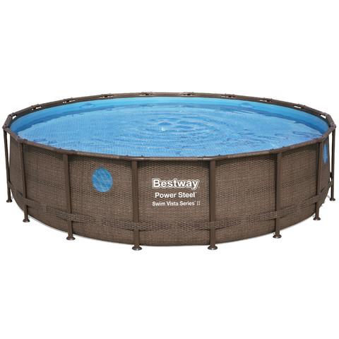 Каркасный бассейн Bestway Ротанг 56977 (549х122 см) с картриджным фильтром, лестницей и защитным тентом / 22523