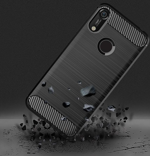 Чехол для Huawei Y6 2019 (Honor 8A Pro) цвет Black (черный), серия Carbon от Caseport