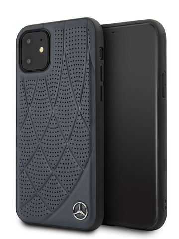 Mercedes / чехол для iPhone 11 | Bow Quilted/perforated Hard Leather Blue