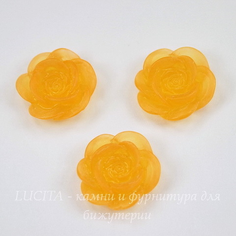 """Кабошон акриловый """"Камелия"""", цвет - апельсиновый, 20 мм"""