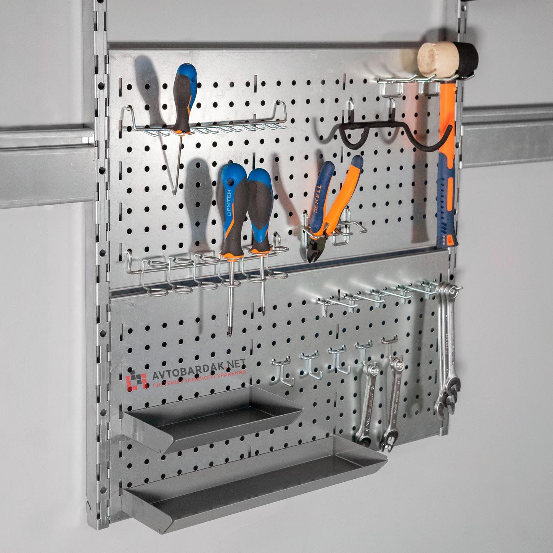 Набор крючков и лотков для инструментов (19 шт) на металлическую перфопанель