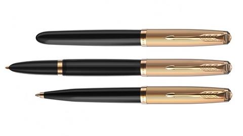 Перьевая ручка Parker 51 DELUXE BLACK GT, перо F123