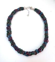 Бисерное ожерелье Facilità из 12 нитей черное мультиколор