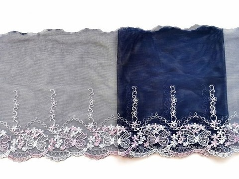Вышивка на сетке, ПРАВАЯ, 20 см, темно-синий/розовые бантики, (Артикул: VS-1027), м