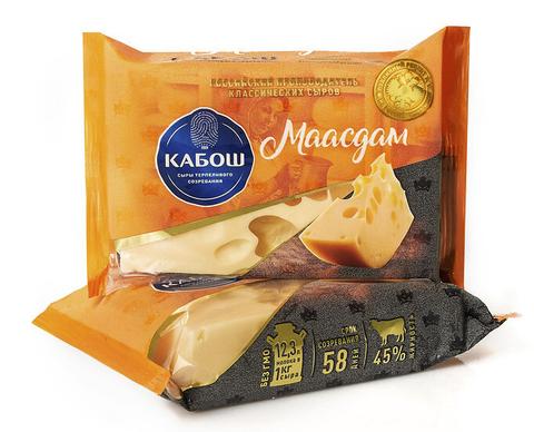 Сыр Маасдам 45% 200гр ТМ Кабош
