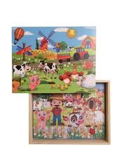 Развивающий пазл SHAPES PUZZLE Ферма 4 картинки 114 элементов в деревянной коробке