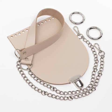 """Комплект для сумочки Орео """"Кремовый"""" Ручка с цепочкой и замок """"N12"""""""
