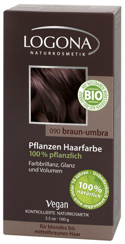 LOGONA растительная краска для волос 090 « УМБРА ТЕМНО-КОРИЧНЕВЫЙ»