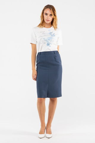 Фото прямая припыленно-синяя юбка с карманами и шлицей спереди - Юбка Б145-196 (1)