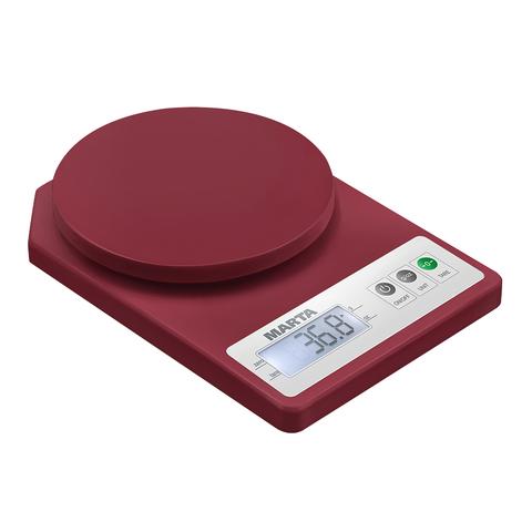 Весы кухонные сенсор MARTA MT-1637 бордовый гранат